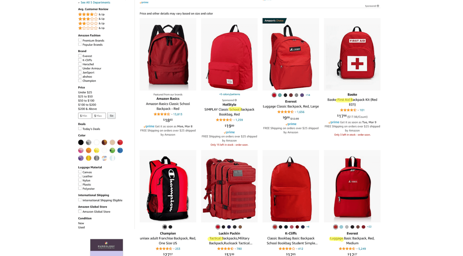 sponsored products ads backpack