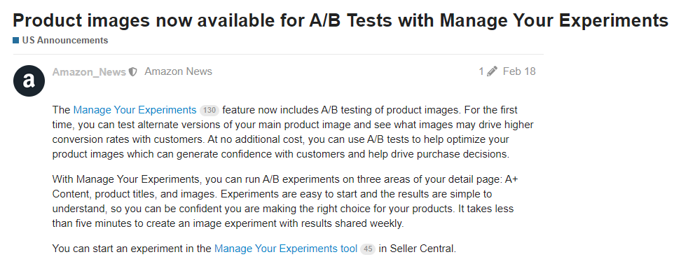 manage your experiments product images