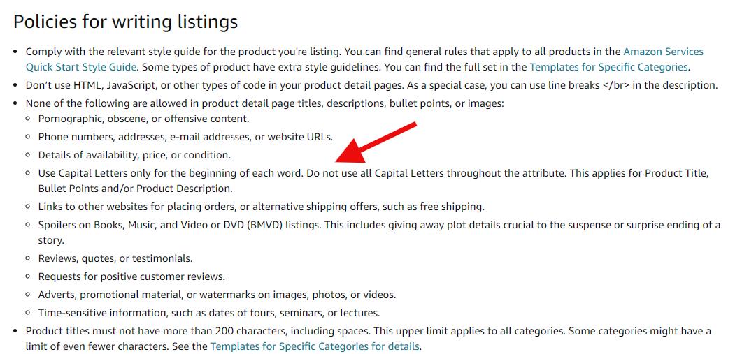 Amazon listing policy