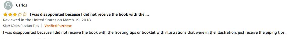 Amazon negative review