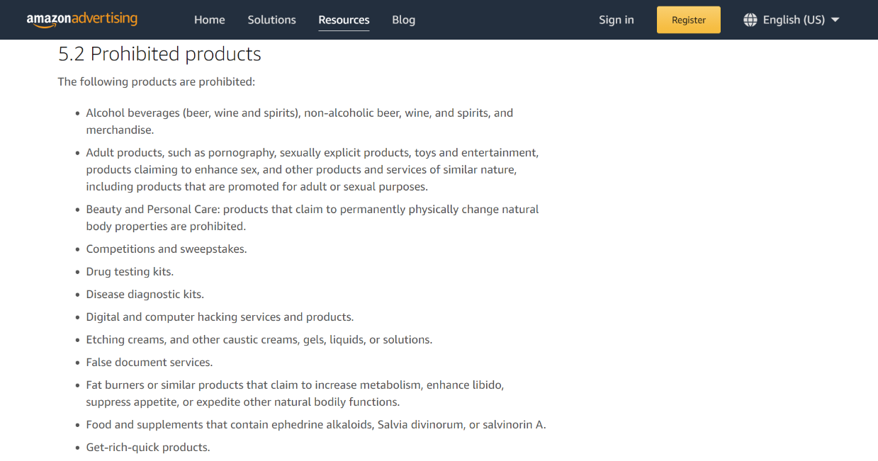 prohibited products on amazon posts