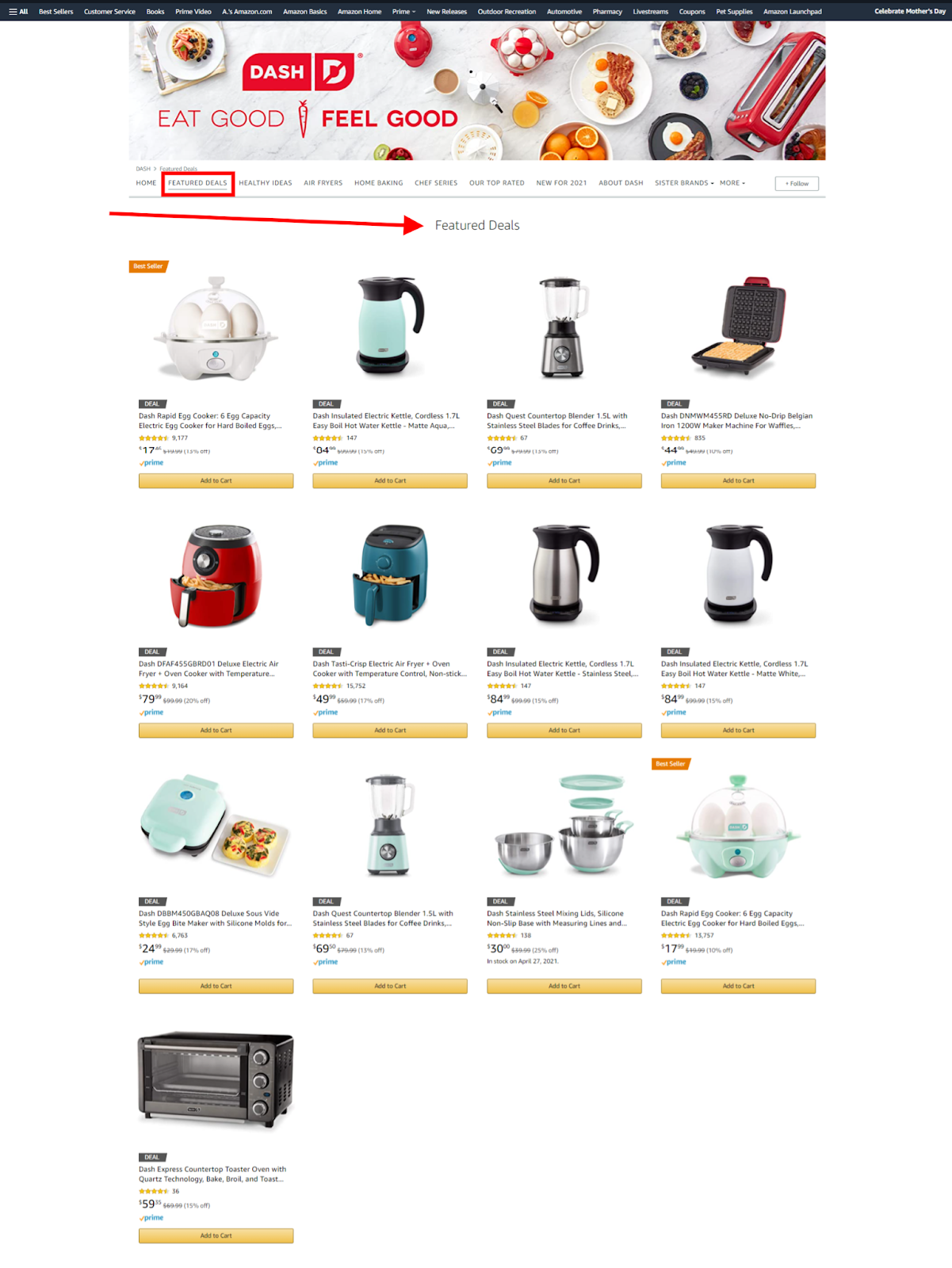 Amazon Featured Deals storefront sample