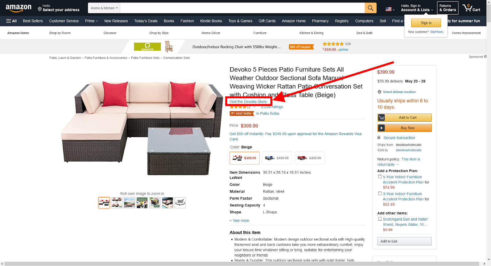 hyperlinked store name Amazon