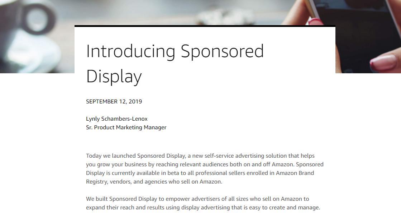 sponsored display ads launch